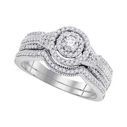 0.50 CTW Diamond Bridal Wedding Engagement Ring 10KT White Gold - REF-59X9Y
