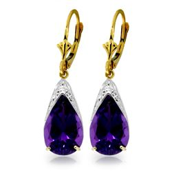 Genuine 10 ctw Amethyst Earrings Jewelry 14KT Yellow Gold - REF-55T5A