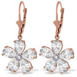 Genuine 4.43 ctw White Topaz & Diamond Earrings Jewelry 14KT Rose Gold - REF-49T8A