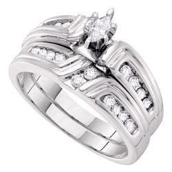 0.38 CTW Marquise Diamond Bridal Engagement Ring 14k White Gold - REF-71W9K
