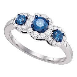 1 CTW Blue Color Diamond 3-stone Bridal Ring 10KT White Gold - REF-59H9M