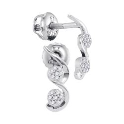 0.08 CTW Diamond Cradled Cluster Screwback Earrings 10KT White Gold - REF-10X5Y