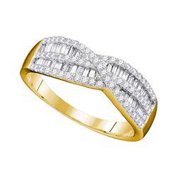 0.65 CTW Diamond Crossover Ring 10KT Yellow Gold - REF-37F5N