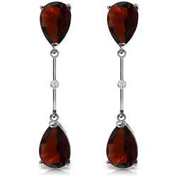 Genuine 6.01 ctw Garnet & Diamond Earrings Jewelry 14KT White Gold - REF-42F4Z