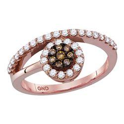 0.50 CTW Cognac-brown Color Diamond Cluster Ring 10KT Rose Gold - REF-44N9F