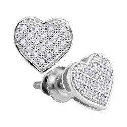 0.10 CTW Diamond Heart Screwback Earrings 10KT White Gold - REF-9W7K