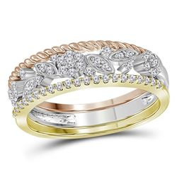 0.25 CTW Diamond Rope Floral 3-Piece Stackable Ring 10KT Tri-Tone Gold - REF-30Y2X