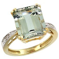 Natural 5.42 ctw green-amethyst & Diamond Engagement Ring 14K Yellow Gold - REF-61M9H