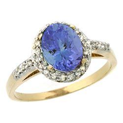 Natural 1.43 ctw Tanzanite & Diamond Engagement Ring 14K Yellow Gold - REF-54Z7Y