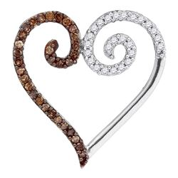 0.25 CTW Cognac-brown Color Diamond Heart Love Pendant 10KT White Gold - REF-12N8F