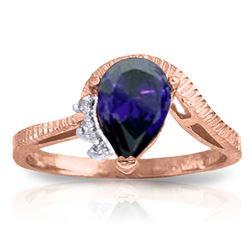 Genuine 1.52 ctw Sapphire & Diamond Ring Jewelry 14KT Rose Gold - REF-56T5A