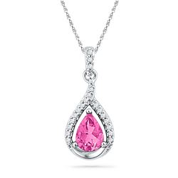 1.65 CTW Pear Created Pink Sapphire Solitaire Diamond Pendant 10KT White Gold - REF-18N7F
