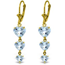 Genuine 6 ctw Aquamarine Earrings Jewelry 14KT Yellow Gold - REF-84F2Z