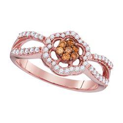 0.35 CTW Cognac-brown Color Diamond Cluster Ring 10KT Rose Gold - REF-28W4K