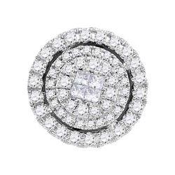 0.50 CTW Princess Diamond Soleil Cluster Pendant 14KT Yellow Gold - REF-56Y2X