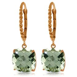 Genuine 7.2 ctw Green Amethyst Earrings Jewelry 14KT Rose Gold - REF-42T7A