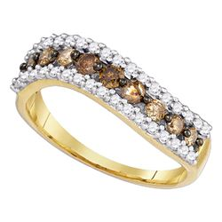 0.77 CTW Cognac-brown Color Diamond Ring 10KT Yellow Gold - REF-28K4W