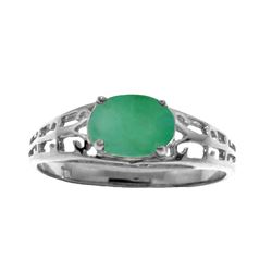Genuine 1.15 ctw Emerald Ring Jewelry 14KT White Gold - REF-39F3Z