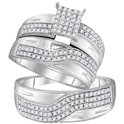 0.75 CTW His & Hers Diamond Cluster Matching Bridal Ring 10KT White Gold - REF-52X4Y