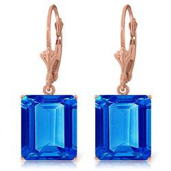 Genuine 13 ctw Blue Topaz Earrings Jewelry 14KT Rose Gold - REF-54H2X
