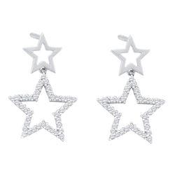 0.25 CTW Diamond Double Star Dangle Screwback Earrings 10KT White Gold - REF-22H4M