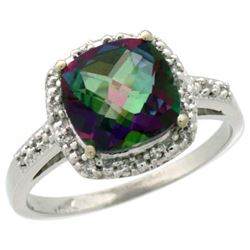 Natural 3.92 ctw Mystic-topaz & Diamond Engagement Ring 14K White Gold - REF-35H2W