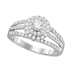 1.03 CTW Diamond Solitaire Halo Bridal Engagement Ring 14KT White Gold - REF-97N4F