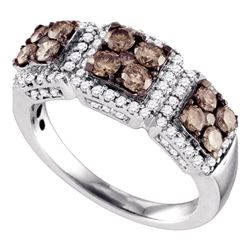 1.35 CTW Cognac-brown Color Diamond Cluster Ring 10KT White Gold - REF-82F4N