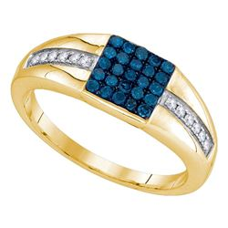 0.50 CTW Mens Blue Color Diamond Square Cluster Ring 10KT Yellow Gold - REF-34H4M