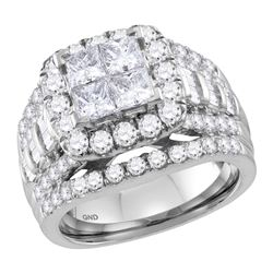 3.03 CTW Princess Diamond Cluster Halo Bridal Engagement Ring 14KT White Gold - REF-322K3W
