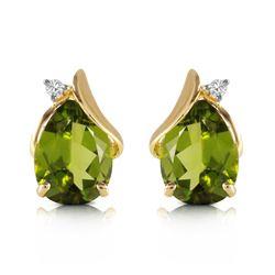Genuine 4.26 ctw Peridot & Diamond Earrings Jewelry 14KT Yellow Gold - REF-46X2M