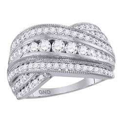 1.01 CTW Diamond Crossover Fashion Ring 14KT White Gold - REF-119Y9X