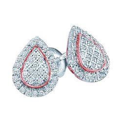 0.18 CTW Diamond Teardrop Cluster Screwback Earrings 10KT Two-tone Gold - REF-18K2W