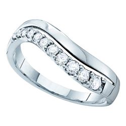 0.33 CTW Diamond Curved Single Row Ring 14KT White Gold - REF-44W9K