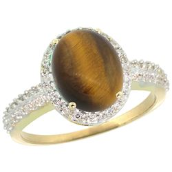 Natural 2.56 ctw Tiger-eye & Diamond Engagement Ring 14K Yellow Gold - REF-39Y7X