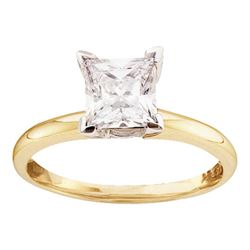 0.25 CTW Princess Diamond Solitaire Bridal Engagement Ring 14KT Yellow Gold - REF-41W3K