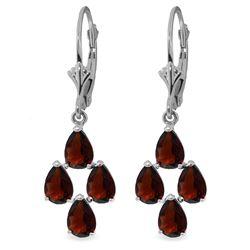 Genuine 4.5 ctw Garnet Earrings Jewelry 14KT White Gold - REF-41Z2N