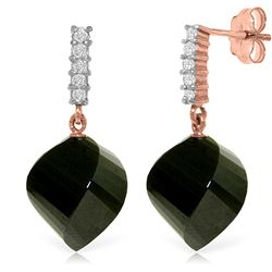 Genuine 31.15 ctw Black Spinel & Diamond Earrings Jewelry 14KT Rose Gold - REF-48P9H