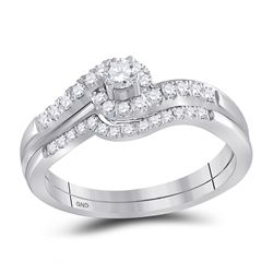 0.63 CTW Diamond Swirled Bridal Engagement Ring 10KT White Gold - REF-41F3N