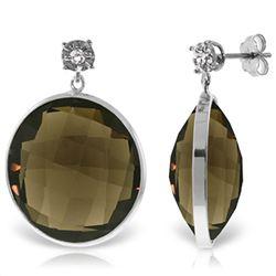Genuine 34.06 ctw Smoky Quartz & Diamond Earrings Jewelry 14KT White Gold - REF-55R5P