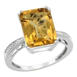 Natural 5.42 ctw Whisky-quartz & Diamond Engagement Ring 14K White Gold - REF-60A3V