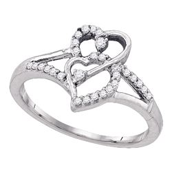 0.17 CTW Diamond Double Heart Promise Bridal Ring 10KT White Gold - REF-16W4K
