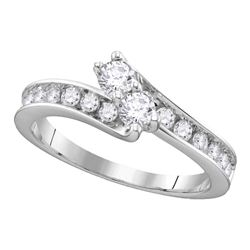 1.02 CTW Diamond 2-stone Hearts Together Bridal Ring 14KT White Gold - REF-116W2K
