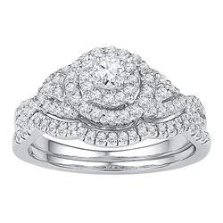 0.63 CTW Diamond Bridal Wedding Engagement Ring 14k White Gold - REF-67W4K