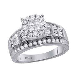 0.99 CTW Princess Diamond Soleil Cluster Bridal Engagement Ring 14KT White Gold - REF-89X9Y