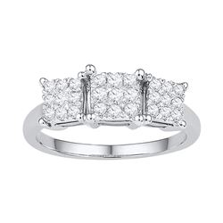 0.29 CTW Diamond Triple Cluster Bridal Engagement Ring 10KT White Gold - REF-40M4H