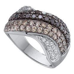 1.75 CTW Black Color Diamond Crossover Ring 14KT White Gold - REF-134K9W