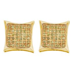 0.11 CTW Yellow Color Diamond Square Kite Cluster Earrings 10KT Yellow Gold - REF-7Y4X