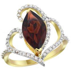 Natural 3.33 ctw Garnet & Diamond Engagement Ring 14K Yellow Gold - REF-77A5V