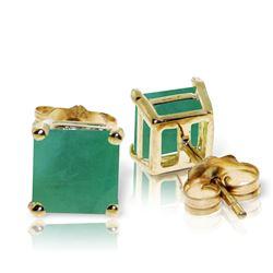Genuine 2.9 ctw Emerald Earrings Jewelry 14KT Yellow Gold - REF-49M2T
